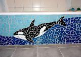 Mosaik Badewanne mit Walmotiv